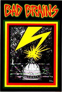 """BAD BRAINS (lightning striking white house) Sticker (4"""" x 5"""") - $2.49 - 1-CST-13257. STICKER / DECAL"""