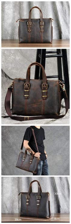 NEW!!!MAN'S LEATHER BAG, HANDMADE LEATHER BRIEFCASE,LAPTOP BAG GZ007