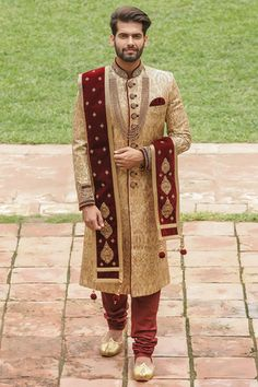 5 Sherwani Trends We Are Currently Loving! Sherwani For Men Wedding, Wedding Dresses Men Indian, Wedding Outfits For Groom, Groom Wedding Dress, Sherwani Groom, Indian Bridal Outfits, Wedding Men, Elegant Wedding, Blue Sherwani