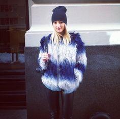 Amanda Del Duca blue white faux fur new york fashion week editor $165