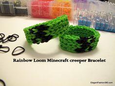 How to make Minecraft Creeper Bracelet on Rainbow Loom step by step DIY tutorial instructions, How to, how to do, diy instructions, crafts, do it yourself, diy website, art project ideas