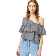 152931baa54a9 SheIn Woman s Fashion 17 Summer Women Blouse Black and White Short Sleeve  Asymmetric Off Shoulder Frill Trim Checkered Top