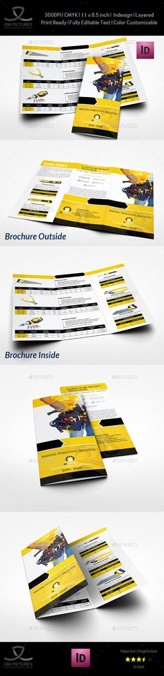 Hand Tools Products Catalog Tri-Fold Brochure Template InDesign INDD