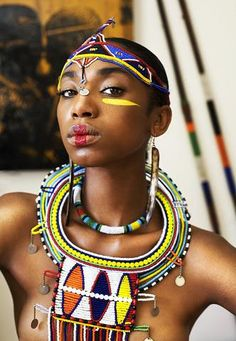 Its African inspired. Its African inspired. African Accessories, African Jewelry, African Tribes, African Women, African Nations, African Girl, African Inspired Fashion, African Fashion, Black Women Art