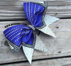 Sparkly blue, black, and white bow with rhinestones Softball Hair Bows, Cheerleading Hair Bows, Cheerleading Jumps, Cheer Stunts, Cheerleading Photos, Bling Cheer Bows, Cute Cheer Bows, Cheer Hair Bows, Cheer Mom