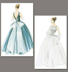 Vogue - 8729 galajurk of bruidsjurk uit 1956   Schnittmuster-online.com   nähen und schnitte online