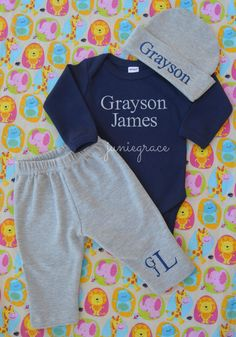 Baby Boy Coming Home Outfit Monogrammed Baby Boy by juniegrace