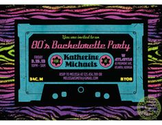 1980s themed Bachelorette Dance Party Mixtape by HydraulicGraphix, $26.50