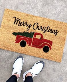 Merry Christmas Red Truck with Tree Doormt - Hello Welcome Mat - Christmas Gift - Winter Doormat - Holiday Doormat - Christmas Doormat Christmas Rugs, Christmas Doormat, Outdoor Christmas, Merry Christmas, Christmas Bathroom, Christmas Decorations, Christmas Porch, Christmas Crafts, Xmas
