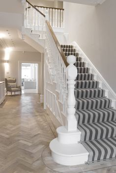 Extensive range of parquet flooring in Edinburgh, Glasgow, London. Parquet flooring delivery within the mainland UK and Worldwide. Staircase Design, House Styles, Wooden Stairs, Edwardian House, Hall Flooring, White Stairs, Carpet Stairs, Stairs, Stairways