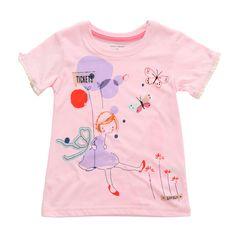 Sale 10% (8.39$) - 2015 New Little Maven Baby Girl Child Pink Cotton Short Sleeve Butterfly T-shirt Top Tee