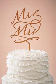 Mr. & Mrs. Woodcut Wedding Cake Topper from @BHLDN