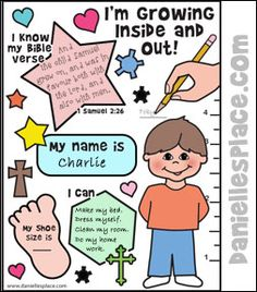I'm Growing Inside and Out Activity Sheet for Samuel Bible lesson from www.daniellesplace.com