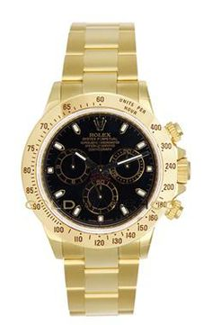 "This watch is an Authentic Rolex All 18K Yellow Gold Daytona Model 116528 with an 18K Yellow Gold Oyster Bracelet and a Black Dial, with the ""Inner Bezel Engraving"" Manufactured in 2009. The watch is in Mint Day one condition and comes with all box, booklets, tags, and all applicable paperwork."
