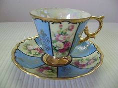 Royal Sealy China Opalescent Rose Panels Gold Blue & Green Cup & Saucer Japan