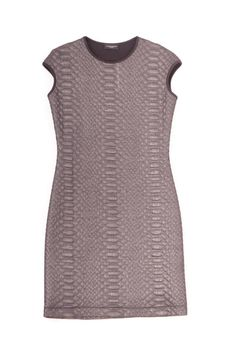 This fun dress from Javier Simorra features a quilted snakeskin-looking pattern with a grey/silver metallic finish. Pair this dress with heels, statement earrings and a fun clutch and you're ready for a memorable evening out.   Quilted Metallic Dress by Javier Simorra. Clothing - Dresses - Printed Illinois