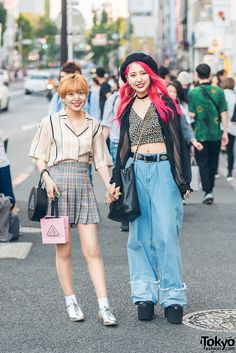 Harajuku Girls Denim, Leopard Print & Plaid w/ YRU, Chanel, Girls Rule & Asian Street Style, Tokyo Street Style, Japanese Street Fashion, Tokyo Fashion, Harajuku Fashion, Kawaii Fashion, Korean Fashion, Harajuku Style, Fashion Outfits
