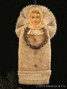 Reserved for Randy Reproduction Victorian Style Christmas Ornament of a Baby in her Cotton Christening Gown