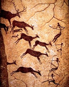 Prehistoric cave painting- 35,000 years ago.  -Animals were important for very basic reasons in this time period. They were used for food, clothes, tools, and most interactions between them and humans remained primal.  -Depicted as flat, basic earth tones, usually through daily life scenes, such as the hunters above.