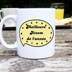 Mug original et personnalisable meilleur astem de l'année, cadeau atsem, école maternelle, tasse céramique
