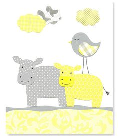 Hey, I found this really awesome Etsy listing at https://www.etsy.com/listing/170991369/yellow-and-gray-grey-nursery-hippo-wall