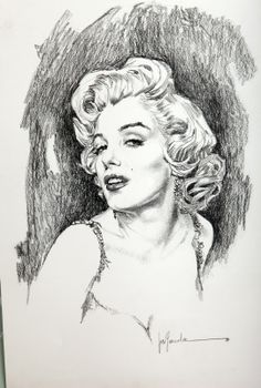 Marilyn Monroe - Pencil drawing by Jose Gonzalez aka Pepe Gonzalez | This image first pinned to Marilyn Monroe Art board, here: http://pinterest.com/fairbanksgrafix/marilyn-monroe-art/ || #Art #MarilynMonroe