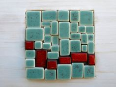 Green turquoise and red mosaic. Block of by OlgaSanchezCeramista, €80.00