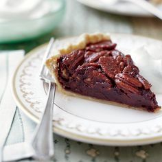 Chocolate Pecan Pie | Dark chocolate gives this classic dish a deep flavor and fudgy texture.