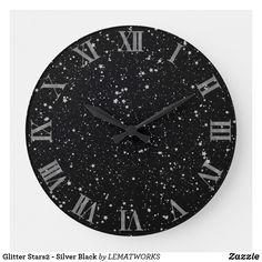 Glitter Stars2 - Silver Black Large Clock