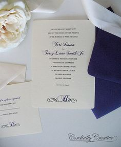 Traditional Wedding Invitation with Initial (shown in Purple, with RSVP Card) on Etsy, $2.00