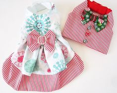 Dog Vest Holiday Boy Dog Clothes Red and White by miascloset