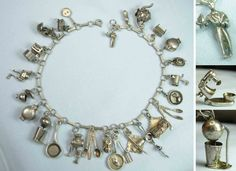"""Epicurean Escapades"" Food Chef Kitchen Cookware Vintage Silver Charms - (From the Joan Munkacsi (gelatogrrl) Estate)"