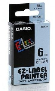 Genuine Casio XR-6X1 6mm Black On Clear Label Printer Tape Cartridge