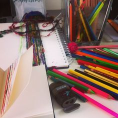 A day of colour! Yarn and pencil play in the cari + carl studio! www.cariandcarl.com