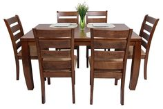 Amuebla tu hogar solo con lo mejor que trae Commodity en Juegos de comedor, para 6 personas, modelo HORACIO, mesa rectangular de madera, sillas de madera, estilo contemporáneo