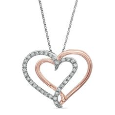 1/4 CT. T.W. Diamond Criss-Cross Heart Pendant in Sterling Silver and 14K Rose Gold Plate