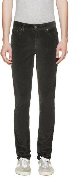 Saint Laurent - Green Corduroy Skinny Jeans