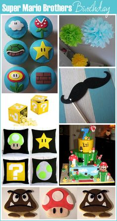 Inspiration and ideas to help you throw a Super Mario Brothers birthday party. Cake, cupcakes, party favors and cookies. Even Mario & Luigi mustaches! Super Mario Bros, Super Mario Birthday, Mario Birthday Party, Super Mario Party, Birthday Fun, Birthday Cakes, Birthday Ideas, Mario Y Luigi, Party Themes