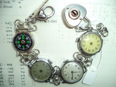 Handmade,UK,Steampunk Bracelet,Upcycled Vintage Watches with Padlock and Compass,Dr Who Bracelet,Time Traveller's Bracelet,Steamgoth Jewelry by Recycloanalyst on Etsy https://www.etsy.com/listing/258768025/handmadeuksteampunk-braceletupcycled