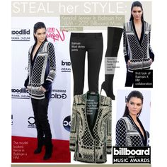 Steal Her StyleKendall Jenner In Balmain For H&M – 2015 Billboard Music Awards by kusja on Polyvore featuring Balmain, Gianvito Rossi, Firth, RedCarpet, Stealherstyle, celebstyle, kendalljenner and Billboard