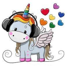 Cute Cartoon Unicorn with headphones and hearts Unicorn Painting, Unicorn Drawing, Unicorn Art, Real Unicorn, Cartoon Unicorn, Magical Unicorn, Cartoon Mignon, Unicornios Wallpaper, Kids Cartoon Characters