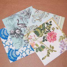 Set de conchas, flores y pájaros decoupage - 4 LargePaper servilletas para Decoupage, Collage, Scrapbooking y manualidades de papel