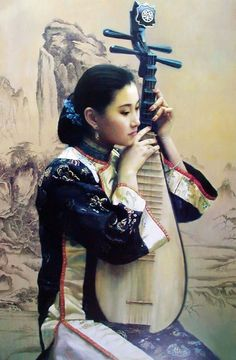 Great work! An inspiring image. Beauty Music Chinese Oil Painting on Canvas artworks are created by our talented Chinese artists.