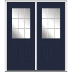 Milliken Millwork 74 in. x 81.75 in. Classic Clear Glass GBG 1/2-Lite 2 Panel Painted Fiberglass Smooth Exterior Double Door, Naval