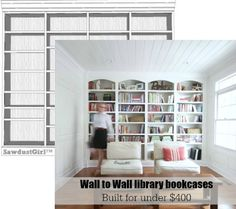 Today I'm sharing detailed plans for my wall to wall library bookcases. These plans utilize...