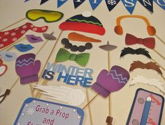 PDF - WINTER photo booth props/decorations/craft - printable DIY