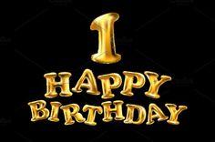 happy birthday balloon gold vector by Rommeo79 on @creativemarket