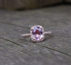 Lavender diamond engagement ring