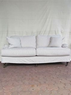 Comfy couch +, stripes look new again x x urban organic slipcovered sofa Custom Sofa, Living Room Inspiration, Sofa Inspiration, Sectional Sofa, Couches, Soft Furnishings, Slipcovers, Outdoor Sofa, Decoration