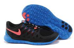 Nike Men Free 5.0  2014 Black Blue Pink Running Shoes